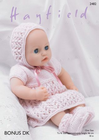 Baby Dolls Dress, Bonnet, Bootee's and Pants in Hayfield Bonus DK (2482)