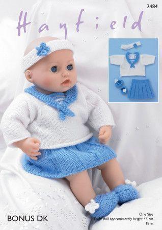 Baby Dolls Sailor Top, Skirt, Pants, Shoe's and Headband in Hayfield Bonus DK (2484)
