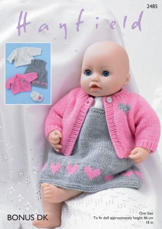 Baby Dolls Pinafore, Cardigan, Top and Pants in Hayfield Bonus DK (2485)