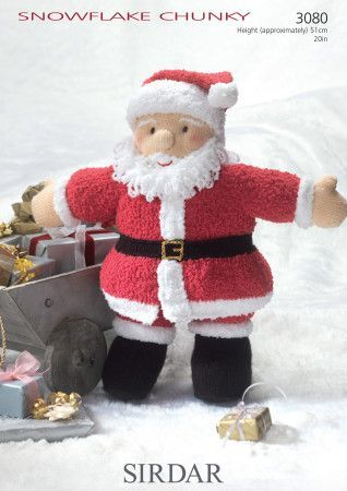 Father Christmas Toy in Sirdar Snuggly Snowflake Chunkly (3080)