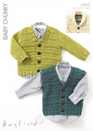 Waistcoat, V Neck Cardigan and Cardigan with Shawl Collar in Hayfield Baby Chunky (4403)