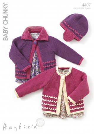 Child's Cardigans and Hat in Hayfield Baby Chunky (4407)