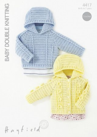 Hooded Sweater and Jacket in Hayfield Baby DK (4417)
