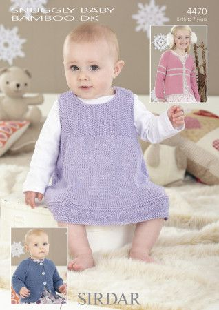 Pinafore and Cardigans im Sirdar Snuggly Baby Bamboo DK (4470)