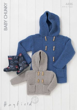 Hooded Boy's Duffle Coat in Hayfield Baby Chunky (4486)