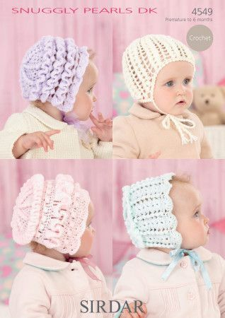 Baby's Bonnets and Helmet in Sirdar Snuggly Pearls DK (4549)