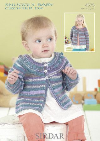 Round Neck Cardigan in Sirdar Snuggly Baby Crofter DK (4575)
