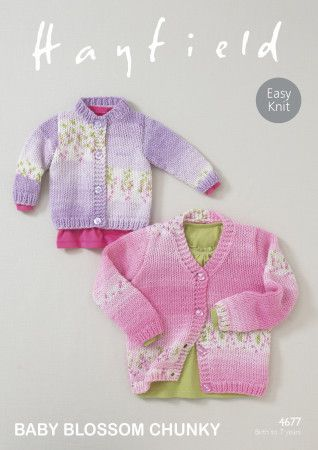 Cardigans in Hayfield Baby Blossom Chunky (4677)