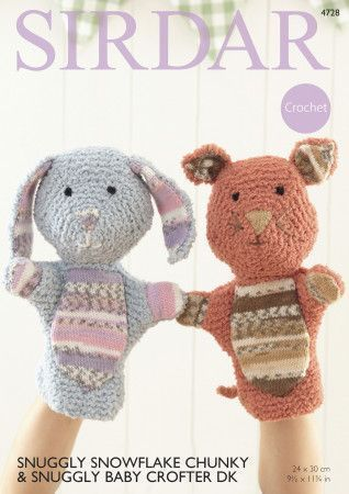 Hand Puppets in Sirdar Snuggly Snowflake Chunky and Snuggly Baby Crofter DK (4728)