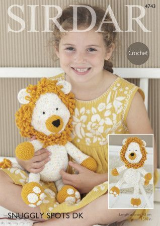 Logan the Lion Toy in Sirdar Snuggly Spots DK and Snuggly DK (4743)