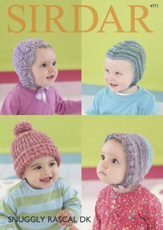 Baby Hats in Sirdar Snuggly Rascal DK (4771)