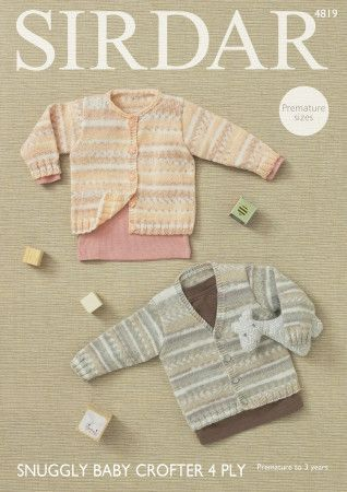 Cardigans in Sirdar Snuggly Baby Crofter 4 Ply (4819)