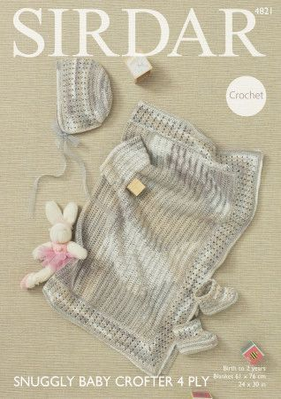 Blanket, Bonnet & Boots in Sirdar Snuggly Baby Crofter 4 Ply (4821)