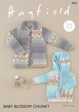 Cardigans in Hayfield Baby Blossom Chunky (4832)