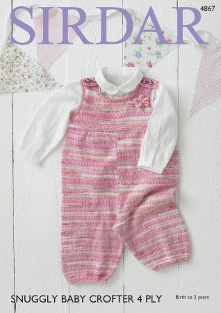 Dungarees in Sirdar Snuggly Baby Crofter 4 Ply (4867)