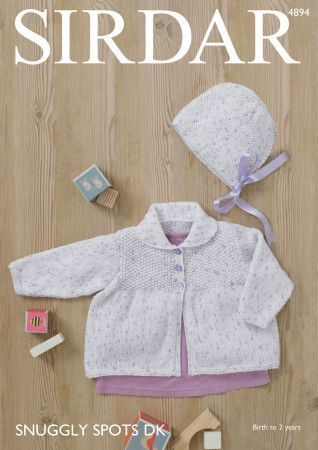 Baby Girl's Jacket and Bonnet in Sirdar Snuggly Spots DK (4894)