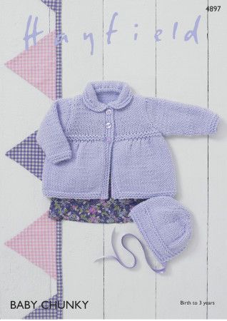 Coat and Bonnet in Hayfield Baby Chunky (4897)