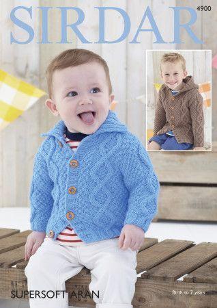 Baby Boy's Cardigans in Sirdar Supersoft Aran (4900)