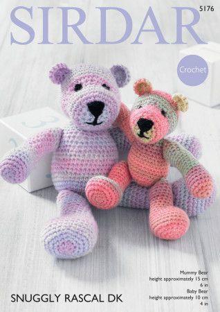Crochet Mummy and Baby Bear in Sirdar Snuggly Rascal DK (5176)