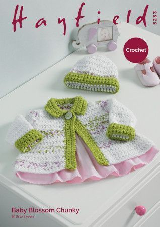 Jacket and Hat in Hayfield Baby Blossom Chunky and Hayfield Baby Chunky (5233)
