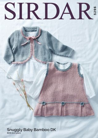 Pinafore and Cardigan in Sirdar Snuggly Baby Bamboo DK (5296)