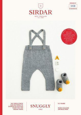 Dungarees and Bootees in Sirdar Snuggly 4 Ply (5438)