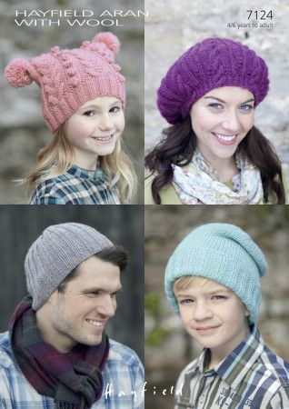 Hats in Hayfield Aran with Wool (7124)