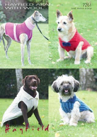 Dog Coats in Hayfield Aran with Wool and Sirdar Snuggly Snowflake Chunky (7261)