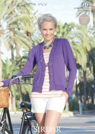 Woman's Cardigan in Sirdar Cotton 4 Ply (7312)
