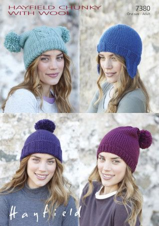 Hats in Hayfield Chunky with Wool (7380)