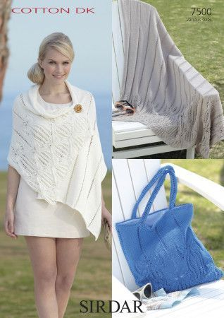 Throw, Wrap and Bag in Sirdar Cotton DK (7500)