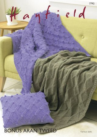 Blankets and Cushion Cover in Hayfield Bonus Aran Tweed (7792)