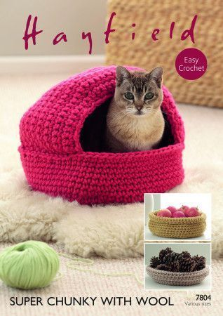 Crochet Cat Nest and Storage Baskets in Hayfield Super Chunky with Wool (7804)