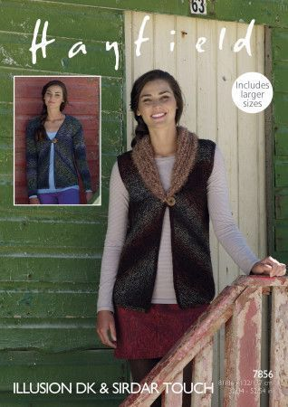 Waistcoat and Cardigan in Hayfield Illusion DK and Sirdar Touch (7856)
