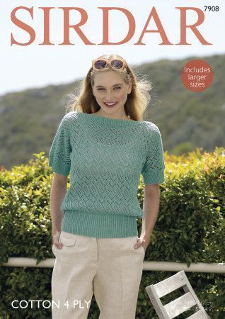 T Shaped Lace Top in Sirdar Cotton 4 Ply (7908)