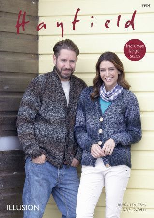 Shawl Collar and V Neck Cardigans in Hayfield Illusion DK (7934)