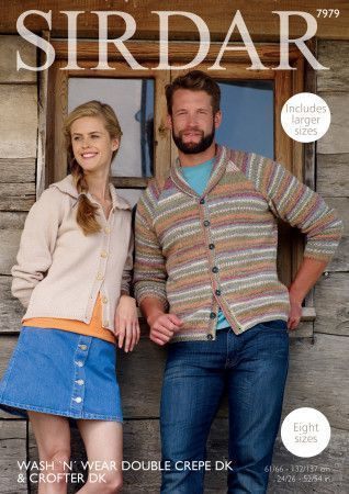 Cardigans in Sirdar Crofter DK and Wash 'N' Wear Double Crepe DK (7979)