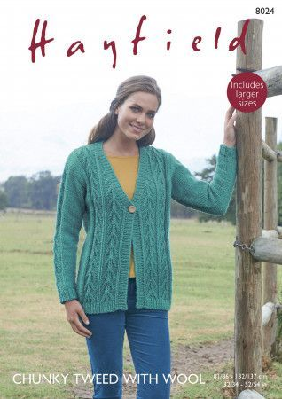 V Neck Cardigan in Hayfield Chunky Tweed (8024)