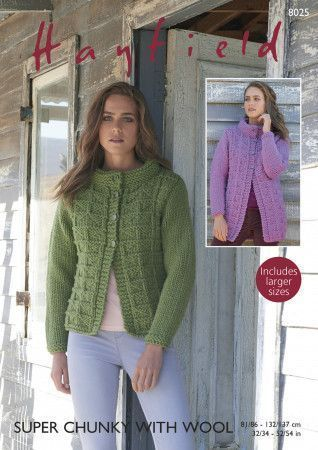 Women's Jacket in Hayfield Super Chunky with Wool (8025)