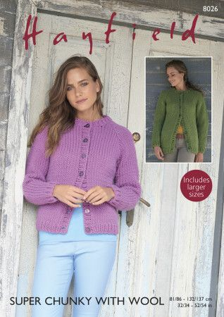 Women's Cardigan in Hayfield Super Chunky with Wool (8026)