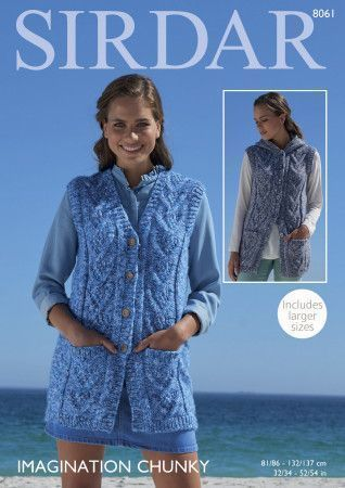 V Neck and Hooded Waistcoats in Sirdar Imagination Chunky (8061)