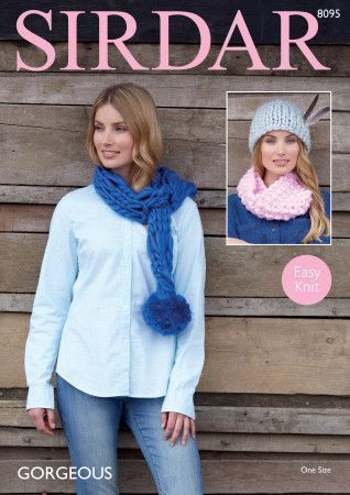Scarf, Snood and Hat in Sirdar Gorgeous Ultra Super Chunky (8095)
