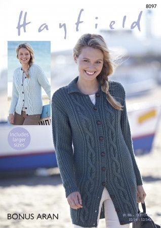 Cardigans in Hayfield Bonus Aran (8097)