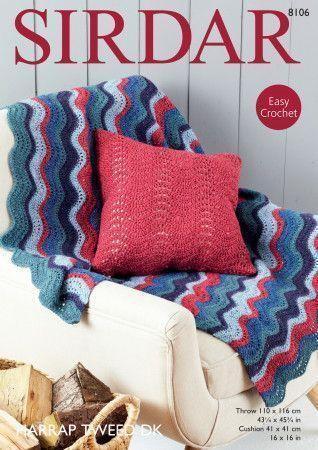 Throw and Cushion Cover in Sirdar Harrap Tweed DK (8106)