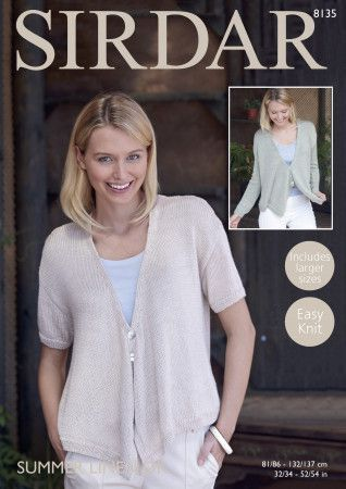 Cardigan with Draped Fronts in Sirdar Summer Linen DK (8135)