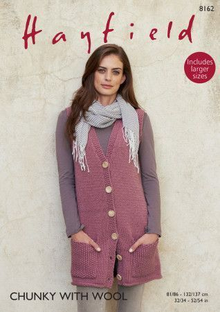 Longline Waistcoat in Hayfield Chunky with Wool (8162)
