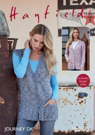 Cardigan and Waistcoat in Hayfield Journey DK (8191)