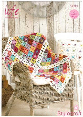 Blanket and Cushion Cover in Stylecraft Life DK (9090)