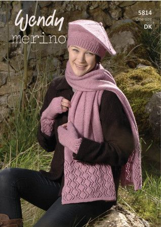 Scarf, Beret and Mitts in Wendy Merino DK (5814)