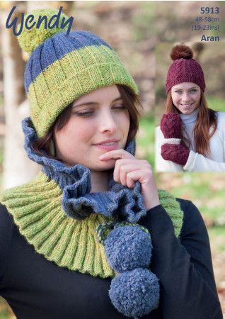 Hats, Mitts and Cowl in Wendy Cairn Aran (5913)